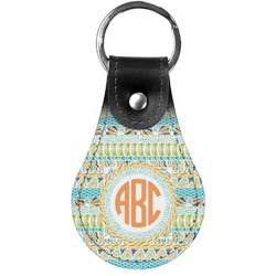 Teal Ribbons & Labels Genuine Leather  Keychains (Personalized)