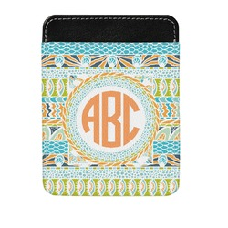 Teal Ribbons & Labels Genuine Leather Money Clip (Personalized)