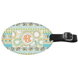 Teal Ribbons & Labels Genuine Leather Oval Luggage Tag (Personalized)