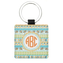 Teal Ribbons & Labels Genuine Leather Rectangular Keychain (Personalized)