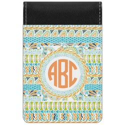 Teal Ribbons & Labels Genuine Leather Small Memo Pad (Personalized)