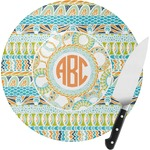 Teal Ribbons & Labels Round Glass Cutting Board (Personalized)