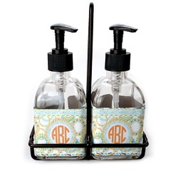 Teal Ribbons & Labels Soap & Lotion Dispenser Set (Glass) (Personalized)