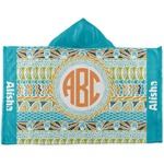 Teal Ribbons & Labels Kids Hooded Towel (Personalized)