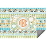 Teal Ribbons & Labels Indoor / Outdoor Rug (Personalized)