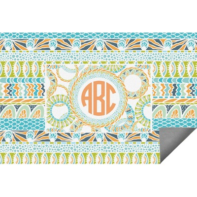 Teal Ribbons & Labels Indoor / Outdoor Rug - 5'x8' (Personalized)