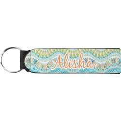 Teal Ribbons & Labels Neoprene Keychain Fob (Personalized)