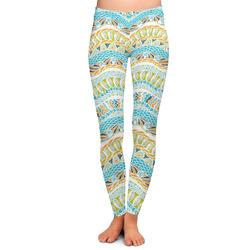 Teal Ribbons & Labels Ladies Leggings - Large (Personalized)