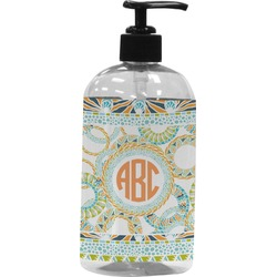 Teal Ribbons & Labels Plastic Soap / Lotion Dispenser (Personalized)