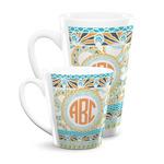 Teal Ribbons & Labels Latte Mug (Personalized)