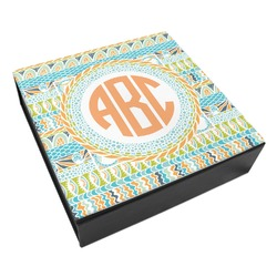 Teal Ribbons & Labels Leatherette Keepsake Box - 3 Sizes (Personalized)