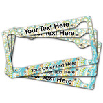 Teal Ribbons & Labels License Plate Frame (Personalized)