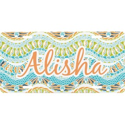 Teal Ribbons & Labels Front License Plate (Personalized)