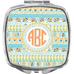 Teal Ribbons & Labels Compact Makeup Mirror (Personalized)