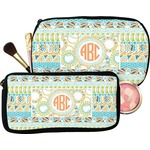 Teal Ribbons & Labels Makeup / Cosmetic Bag (Personalized)