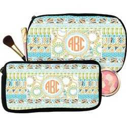 Teal Ribbons & Labels Makeup / Cosmetic Bag (Personalized)