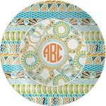 Teal Ribbons & Labels Melamine Plate (Personalized)