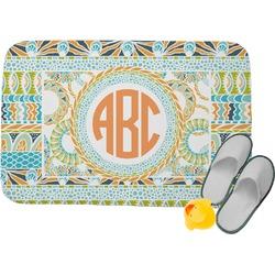 Teal Ribbons & Labels Memory Foam Bath Mat (Personalized)