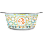 Teal Ribbons & Labels Stainless Steel Dog Bowl (Personalized)