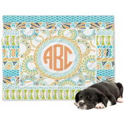 Teal Ribbons & Labels Minky Dog Blanket - Large  (Personalized)
