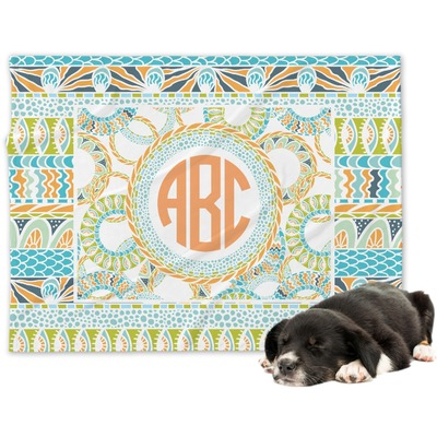 Teal Ribbons & Labels Dog Blanket (Personalized)