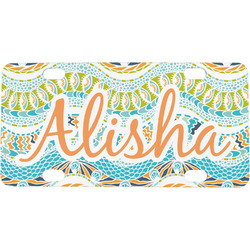 Teal Ribbons & Labels Mini / Bicycle License Plate (Personalized)