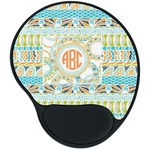 Teal Ribbons & Labels Mouse Pad with Wrist Support
