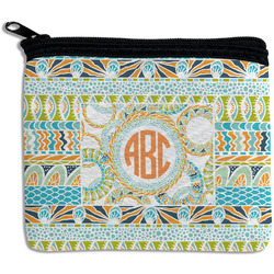 Teal Ribbons & Labels Rectangular Coin Purse (Personalized)