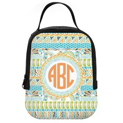 Teal Ribbons & Labels Neoprene Lunch Tote (Personalized)