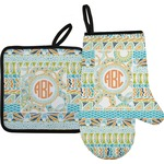 Teal Ribbons & Labels Oven Mitt & Pot Holder (Personalized)