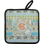 Teal Ribbons & Labels Pot Holder (Personalized)