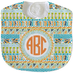 Teal Ribbons & Labels Velour Baby Bib w/ Monogram