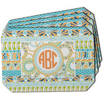 Teal Ribbons & Labels Dining Table Mat - Octagon w/ Monogram