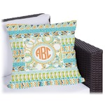 Teal Ribbons & Labels Outdoor Pillow (Personalized)