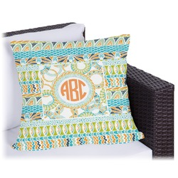 """Teal Ribbons & Labels Outdoor Pillow - 26"""" (Personalized)"""