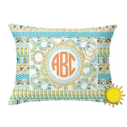 Teal Ribbons & Labels Outdoor Throw Pillow (Rectangular) (Personalized)