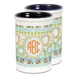 Teal Ribbons & Labels Ceramic Pencil Holder - Large