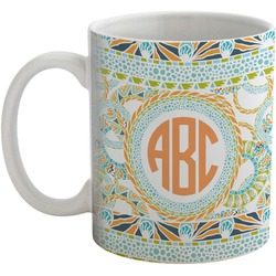 Teal Ribbons & Labels Coffee Mug (Personalized)