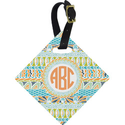 Teal Ribbons & Labels Diamond Luggage Tag (Personalized)