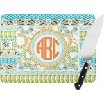 Teal Ribbons & Labels Rectangular Glass Cutting Board (Personalized)
