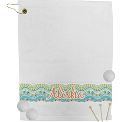 Teal Ribbons & Labels Golf Towel (Personalized)