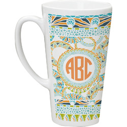 Teal Ribbons & Labels Latte Mug (Personalized)