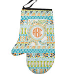 Teal Ribbons & Labels Left Oven Mitt (Personalized)