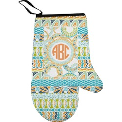 Teal Ribbons & Labels Right Oven Mitt (Personalized)