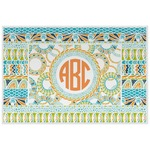 Teal Ribbons & Labels Placemat (Laminated) (Personalized)