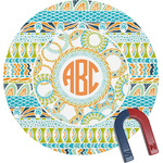 Teal Ribbons & Labels Round Magnet (Personalized)