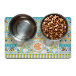 Teal Ribbons & Labels Dog Food Mat (Personalized)