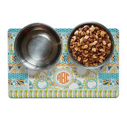 Teal Ribbons & Labels Pet Bowl Mat (Personalized)