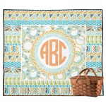 Teal Ribbons & Labels Outdoor Picnic Blanket (Personalized)