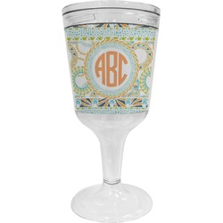 Teal Ribbons & Labels Wine Tumbler - 11 oz Plastic (Personalized)